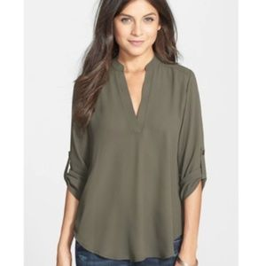 Lush Perfect Roll Tab Sleeve Olive Green